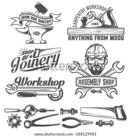 Logos with working stuff. Emblems carpentry workshop, forge, assembly shop. Worker tools. Text on a separate layer - easy to replace. - stock vector