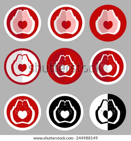 Logotype heart in human hands.  All objects are placed on separate and named layers. Enjoy)  - stock vector