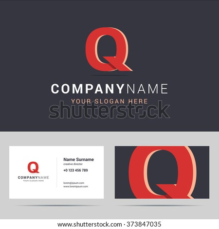 Logotype, logo template and business card template. Logotype with Q letter sign. Two sided business card layout. Q letter with overlapping and 3d effects. Vector illustration. - stock vector