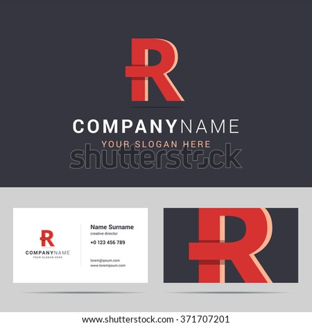 Logotype, logo template and business card template. Logotype with R letter sign. Two sided business card layout. R letter with overlapping and 3d effects. Vector illustration. - stock vector
