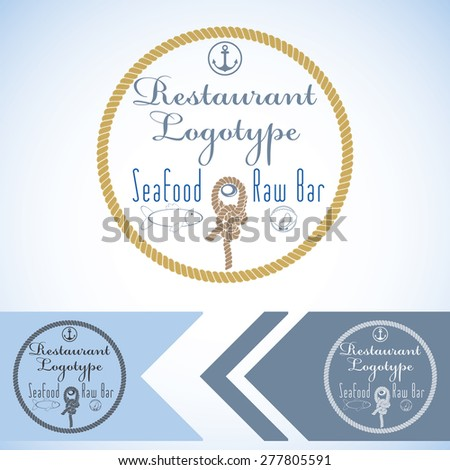 Logotype mock up for seafood restaurant and raw bar. Vector graphic design. with fish and oyster and rope.