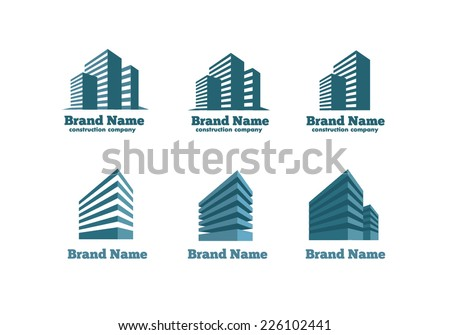 Logotype skyscrapers construction - stock vector