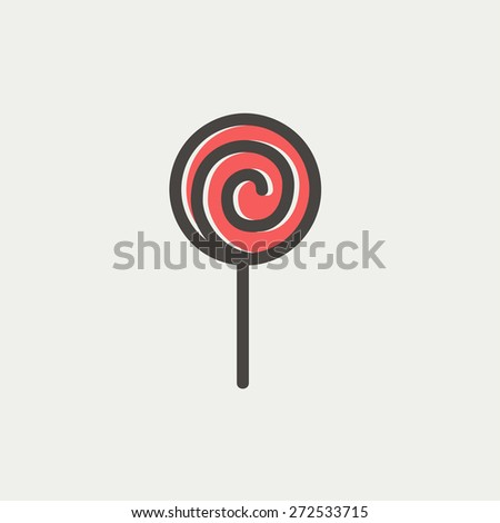 Lollipop icon thin line for web and mobile, modern minimalistic flat design. Vector icon with dark grey outline and offset colour on light grey background. - stock vector