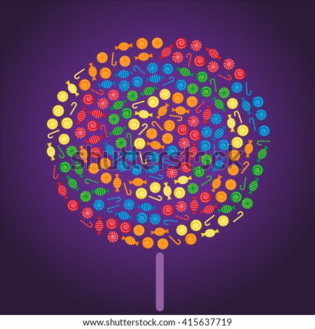 Lollipop made by colorful candies