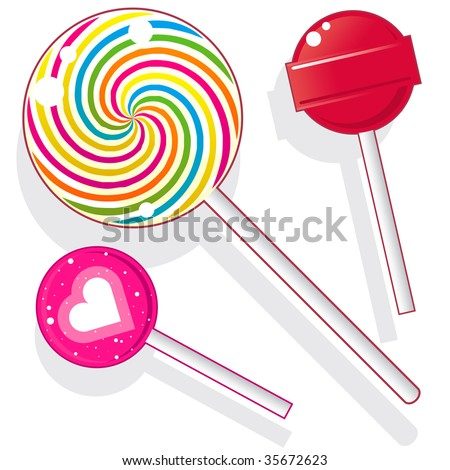 Lollipops and suckers.  Vector candy set includes spherical lolly pops as well as round swirl pop. - stock vector