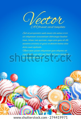 Lollipops. candies and sweets on a blue background, vector a4 format card template - stock vector