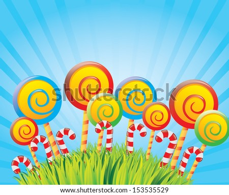 lollipops design over sky background vector illustration  - stock vector