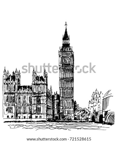 london big ben drawn by hand with a black pen traced drawing of a famous