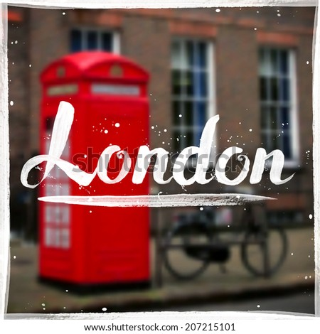 London calligraphy sign on blurred London phone box background - stock vector