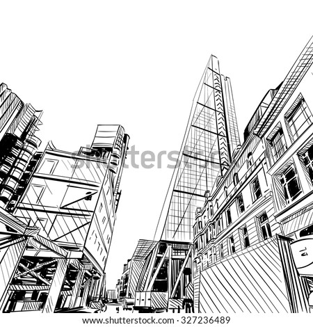London city hand drawn. Building sketch, vector illustration - stock vector