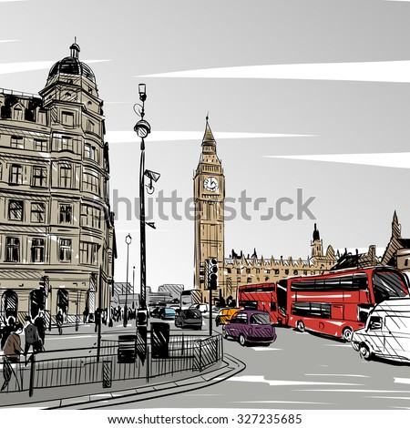 London city hand drawn, vector illustration - stock vector