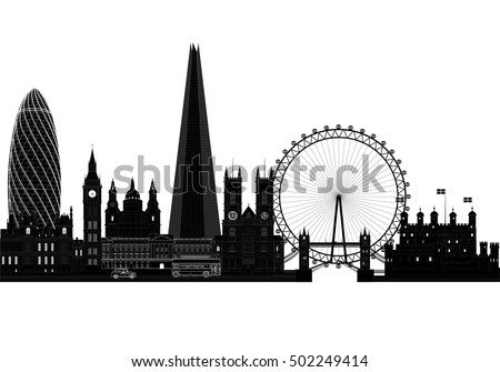 London City Skyline Silhouette Background Vector Illustration Isolated On White