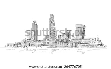 London, City view from the Thames river. Sketch collection - stock vector