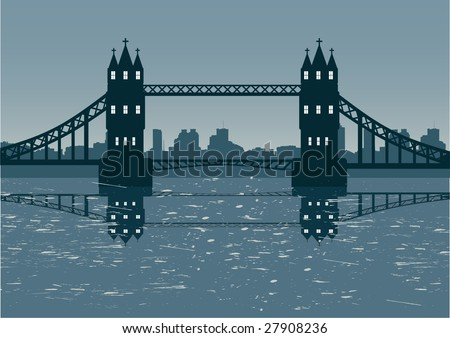 London cityscape illustration with bridge vector - stock vector