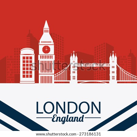 London design over red background, vector illustration. - stock vector