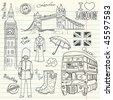 London doodles in the sketch book - stock vector
