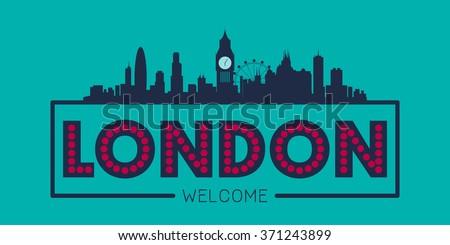 London England city skyline silhouette vector design - stock vector