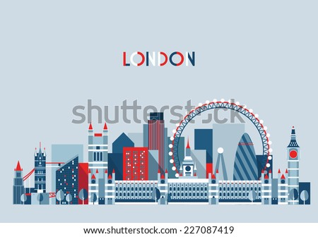 London (England) city skyline vector background. Flat trendy illustration. - stock vector