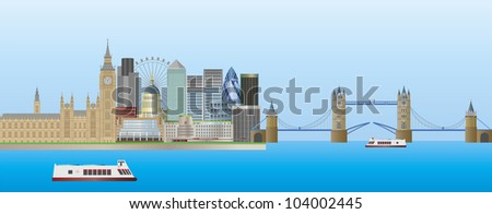 London England Skyline Panorama with Tower Bridge and Westminster Palace Illustration - stock vector
