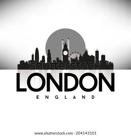 London England Skyline Silhouette design, vector illustration, Black. - stock vector