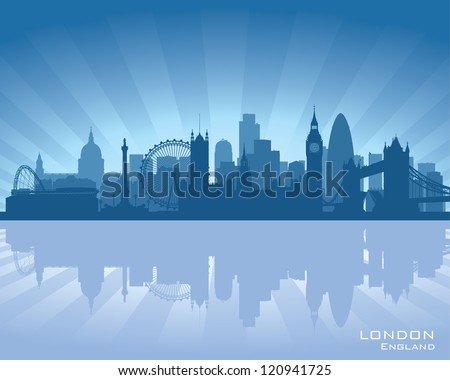 London, England skyline with reflection in water - stock vector
