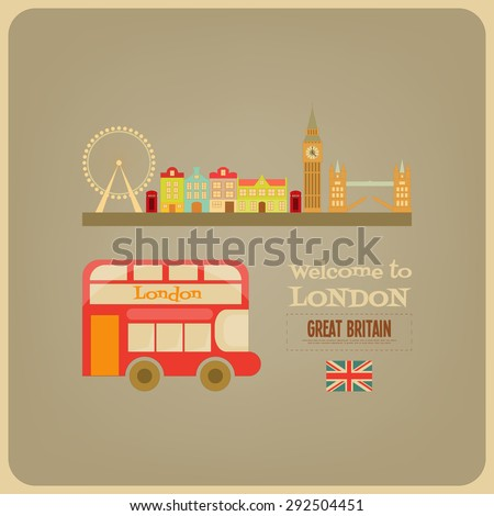 London. English Postcard with Red Bus. Vector Illustration. - stock vector