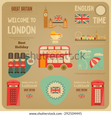 London. English Poster with British theme. Vector Illustration. - stock vector