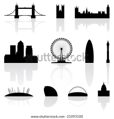London famous landmarks isolated on a white background - stock vector