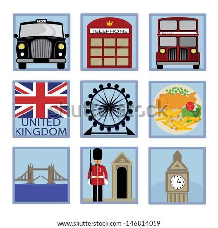 London Flat Icons - stock vector
