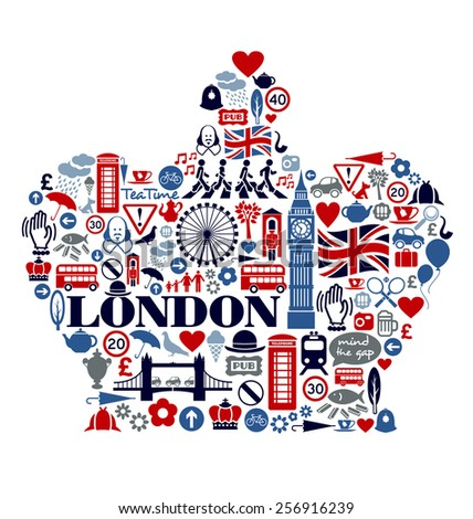 London Great Britain United Kingdom culture icons landmarks attractions - stock vector