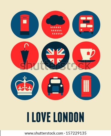 London greeting card design. - stock vector