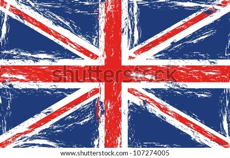 London grunge flag, vector illustration - stock vector