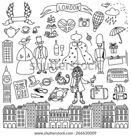 London hand drawn doodles elements. Vector illustration - stock vector