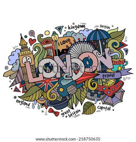 London hand lettering and doodles elements background. Vector illustration - stock vector