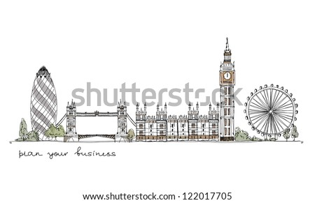 London (iconic buildings) background - stock vector