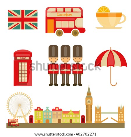 London Icons Isolated on White Background. English Poster with British theme. Vector Illustration. - stock vector