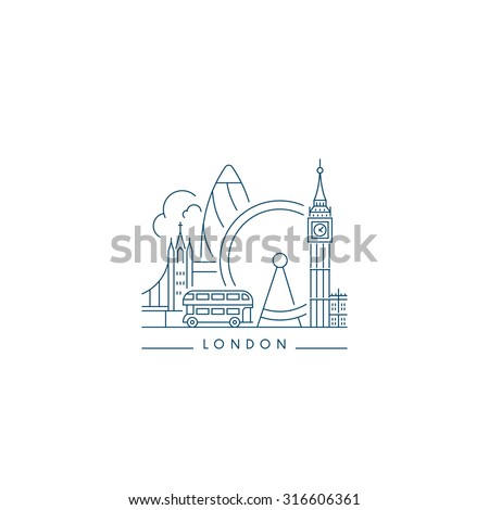London Landmark. Line style - stock vector