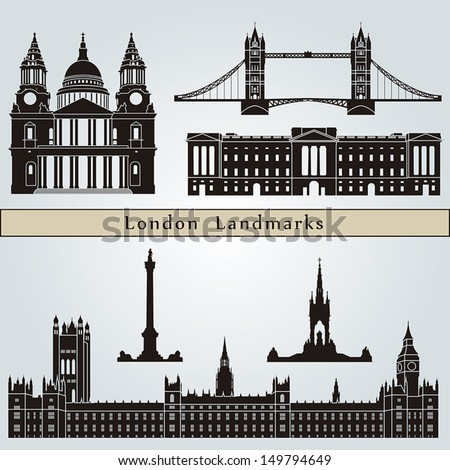 London landmarks and monuments isolated on blue background in editable vector file - stock vector