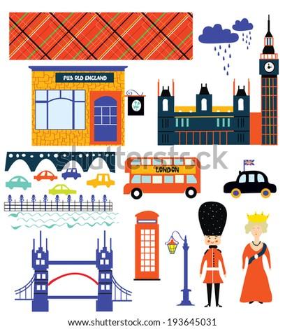 London landmarks and symbol set funny design illustration - stock vector