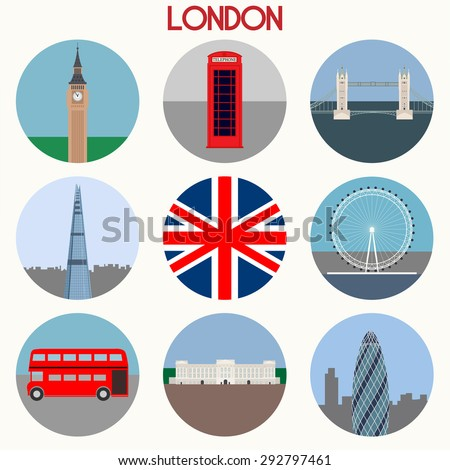 London landmarks & town symbols - Icons Set - Vector EPS10 - stock vector
