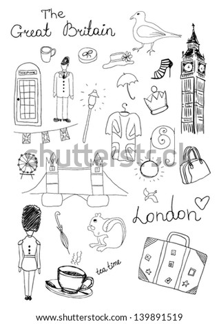 London Objects - stock vector