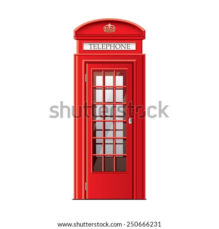 London phone booth isolated on white photo-realistic vector illustration - stock vector