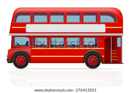 london red bus vector illustration isolated on white background - stock vector