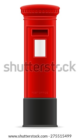 London red mail box vector illustration isolated on white background
