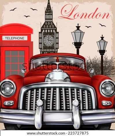 London retro poster. - stock vector