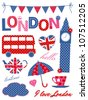 London scrapbook elements in blue, red and pink. - stock vector