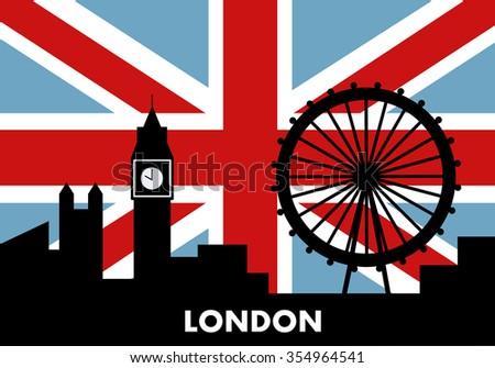 London silhouette, flat design, vector illustration. - stock vector