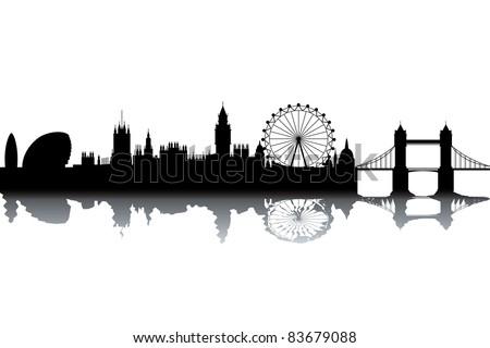London skyline - black and white vector illustration - stock vector