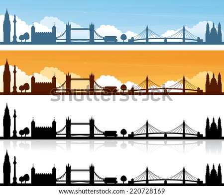 London skyline day and sunset banners and plain silhouettes with and without reflection. - stock vector