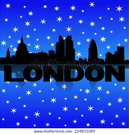 London skyline reflected with snow vector illustration - stock vector